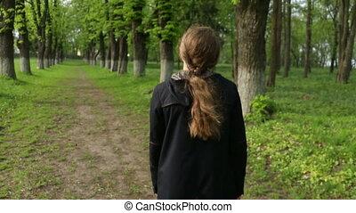 pieszy, kobieta, las