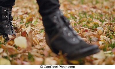pieszy, kobieta, młody, żółty, jesień, park, liście, przechadzki
