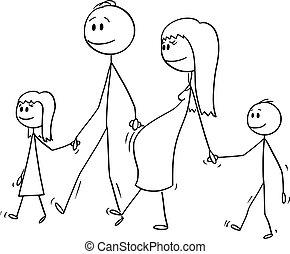 pieszy, kobieta, rodzina, brzemienny, dwa, razem, rysunek, wektor, dzieci, człowiek
