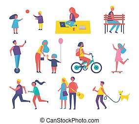 pieszy, ludzie, park, rysunek, zabawa, posiadanie, ikona