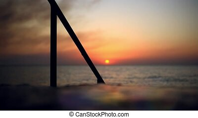 pieszy, młody, s, woman', zachód słońca, nogi, plaża