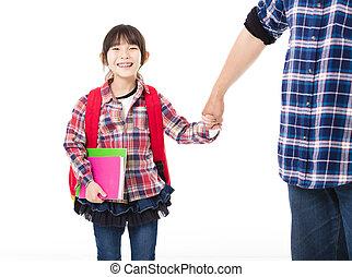 pieszy, mały, ojciec, szkoła dziewczyna