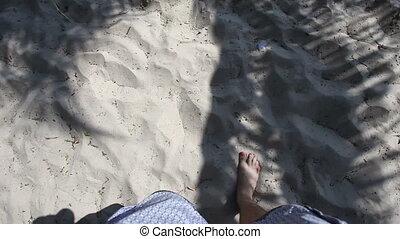 pieszy, morze, człowiek