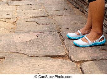 pieszy, nogi, kobieta