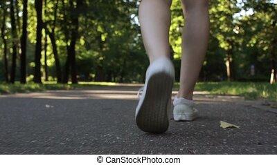 pieszy, nogi, park, młody, samica