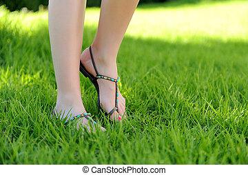 pieszy, nogi, trawa, kobieta