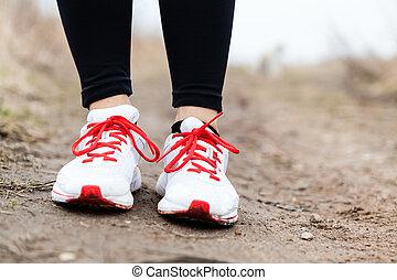 pieszy, obuwie zabawy, wyścigi, nogi, albo
