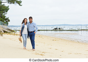 pieszy, para, młody, plaża, szczęśliwy