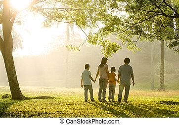 pieszy, park, rodzina