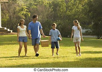 pieszy, park., rodzina