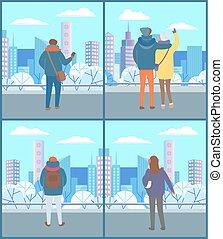 pieszy, patrzeć, prospekt, park, ludzie, miasto, para