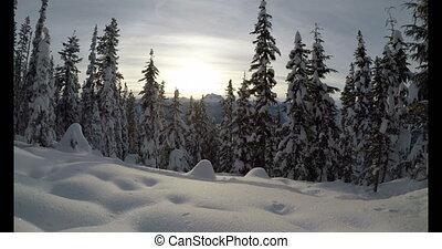pieszy, plecak, góra, śnieg zaległ, 4k, kobieta, skłon