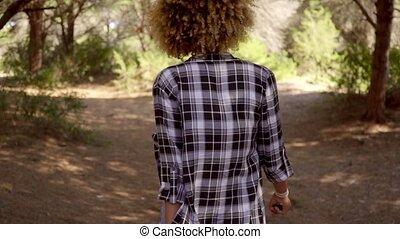 pieszy, pled koszula, ciągnąć, kobieta, las