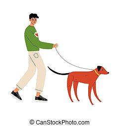 pieszy, praca, pies, ilustracja, wektor, ochotnik, człowiek