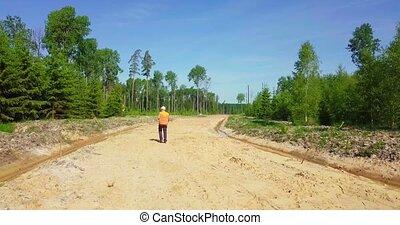 pieszy precz, las, nowy, droga, inżynier