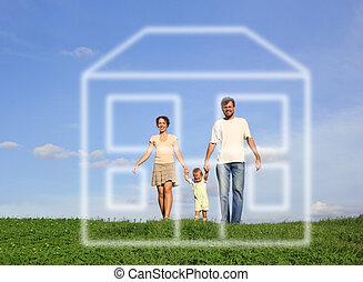 pieszy, rodzina, dom, niemowlę, trawa, sen