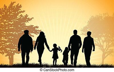 pieszy, rodzina, razem