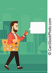 pieszy, smartphone., człowiek