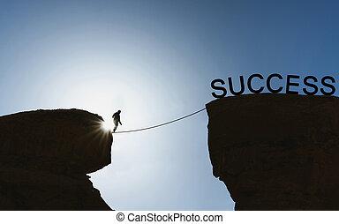 pieszy, sylwetka, powodzenie, związać, balansowy, człowiek