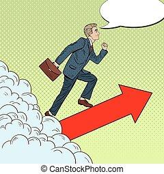 pieszy, sztuka, pomyślny, górny, hukiem, clouds., wektor, przez, ilustracja, biznesmen