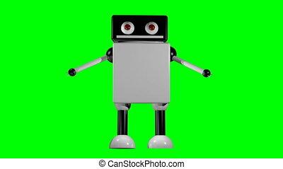 pieszy, tło., robot, odizolowany, przedstawienie, 3d