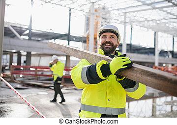 pieszy, working., mężczyźni, outdoors, pracownicy, umieszczenie zbudowania