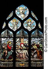 Pieta, stained glass