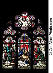 Pieta, stained glass window