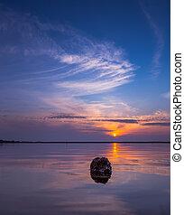 pietra, acqua, a, tramonto