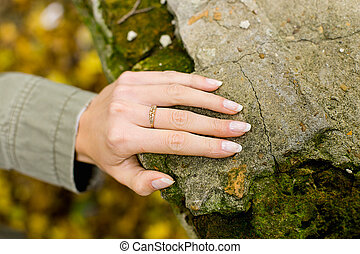 pietra, anello, mano