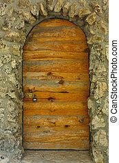 pietra, anticaglia, legno, serratura, parete, porta