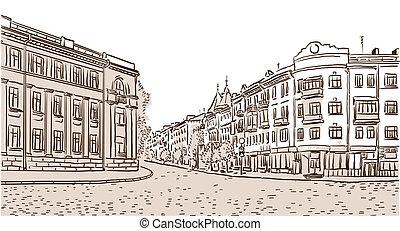 pietra, antico, blocks., strada, europeo, pavimentato