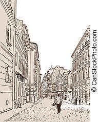 pietra, antico, blocks., strada, piede, pavimentato, europeo
