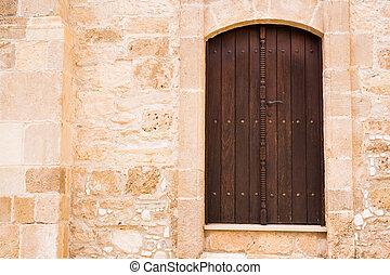 pietra, antico, porta, legno, wall., castello