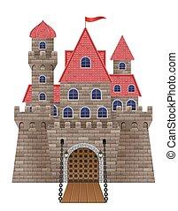 pietra, antico, vecchio, illustrazione, vettore, castello