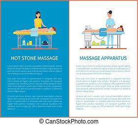 pietra, apparato, apparecchiatura, caldo, vettore, massaggio