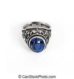pietra blu, anello, argento