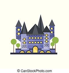 pietra blu, fairytale, illustrazione, vettore, fondo, castello, bianco