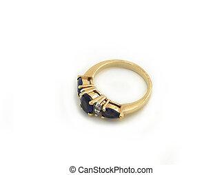 pietra blu, oro, jewelery, isolato, 023, anello