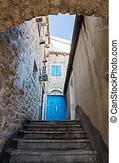 pietra blu, vecchio, casa legno, porta, scale