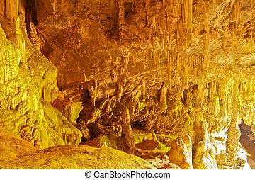 pietra, calcare, sera, stalattite, dorato, sguardo, come