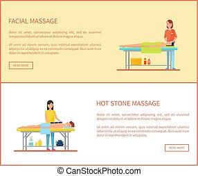 pietra, caldo, vettore, facciale, bandiera, cartone animato, massaggio
