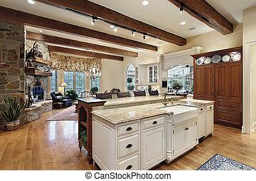 pietra, caminetto, cucina