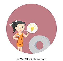 pietra, cavewoman, callout, idea, fondo, cerchio, rotondo
