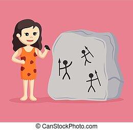 pietra, cavewoman, scrittura