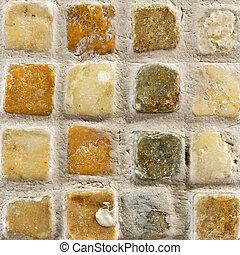 pietra, ceramica, pavimentato, fondo, piccolo, mattone