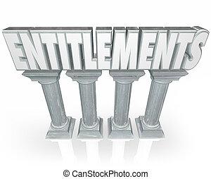 pietra, colonne, governo, entitlements, benefici, parola, ...