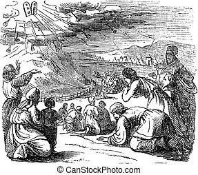 pietra, comandamenti, disegno, monte, giù, dieci, biblico, prendere, sotto, tavolette, dare, sinai, quando, vendemmia, arco, israeliti, moses, storia
