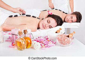 pietra, coppia, massaggio, detenere