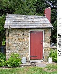 pietra costruzione, porta, rosso